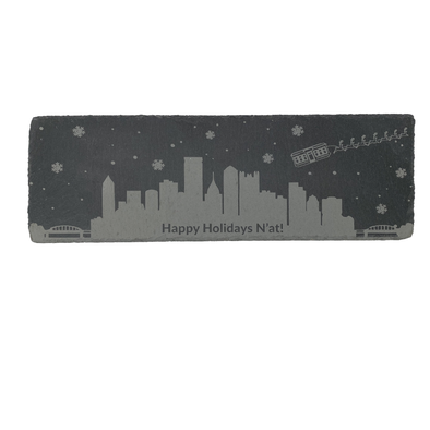 Happy Holidays N'At, Pittsburgh Skyline Slate Cheese Board
