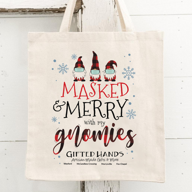 Masked & Merry Tote Bag **Limit One Per Person**Free w/$50 Purchase**Must add to cart!