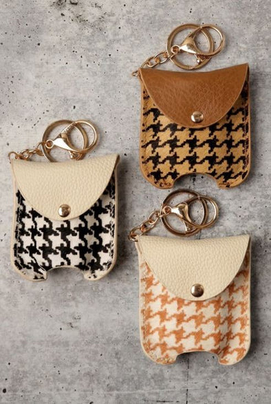 Houndstooth, Refillable Hand Sanitizer Keychain
