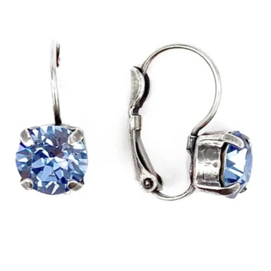 Light Sapphire, 8mm Crystal Drop Earrings, Wholesale