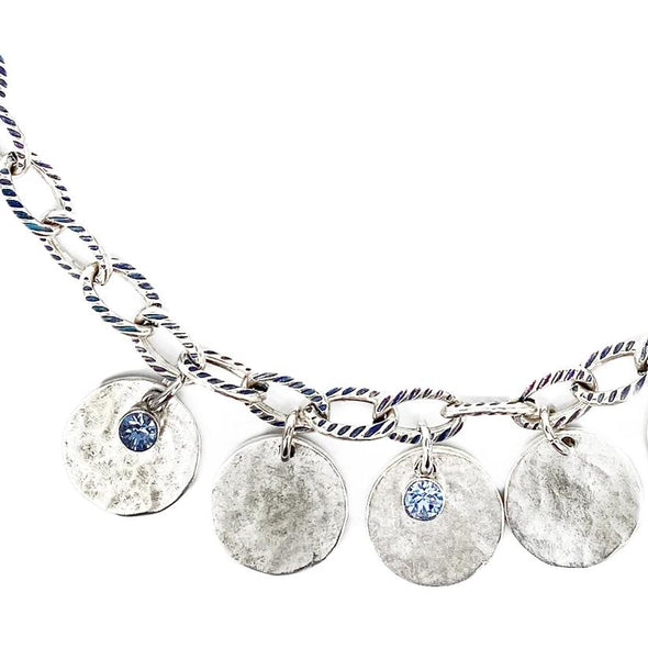 Light Sapphire, Crystal Coin Necklace