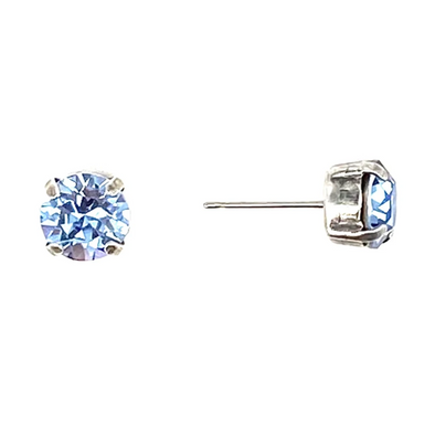 Light Sapphire, 8mm Crystal Stud Earrings, Wholesale