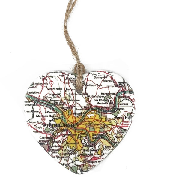 Pittsburgh Map Heart Ornament