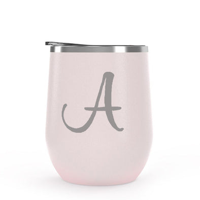 Matte Blush Wine Tumbler with Custom Initial, Wholesale