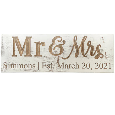 Mr. and Mrs. White Wood Sign