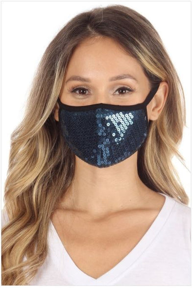 Navy Sequin, Face Mask