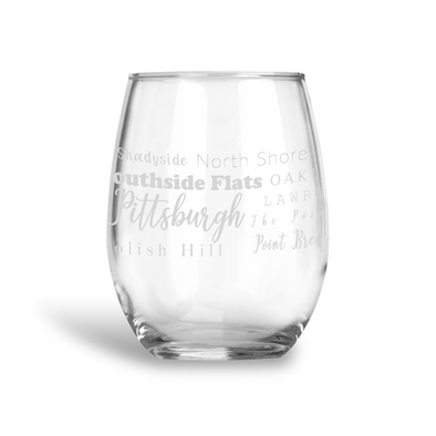Pittsburgh Neighborhoods Stemless Wine Glass