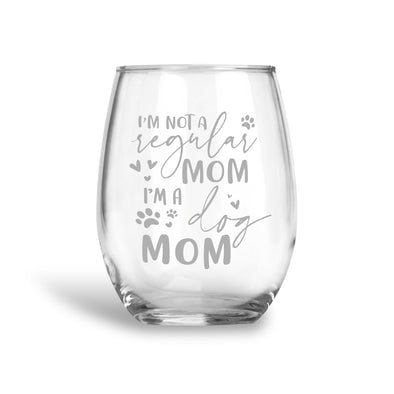 Dog Mom, Stemless Wine Glass