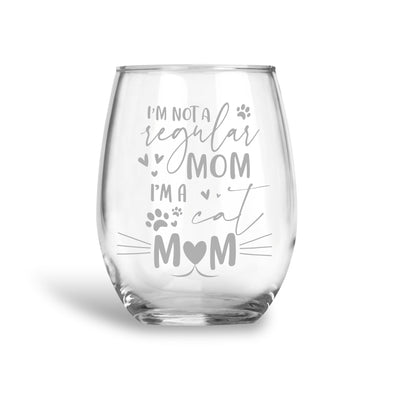 Cat Mom, Stemless Wine Glass