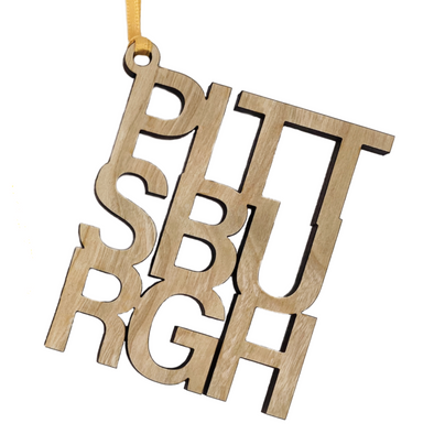 PITTSBURGH, Wood Ornament, Wholesale
