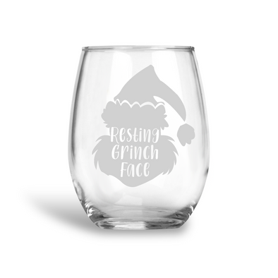 Grinch Face, Stemless Holiday Wine Glass