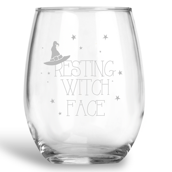 Resting Witch Face, Stemless Wine Glass