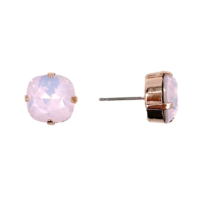 Rose Water Opal, 12mm Crystal Stud Earrings