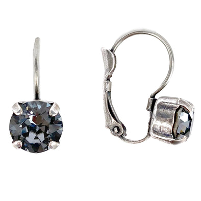 Silver Night, 8mm Crystal Drop Earrings