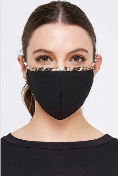 Black with Snake Print, Face Mask With Filter Pocket