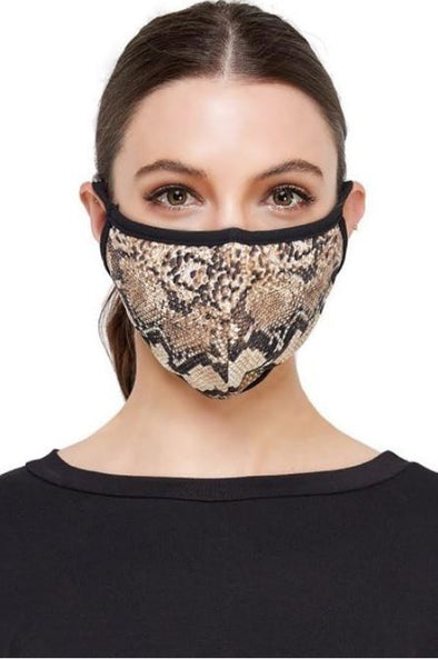 Snake Print, Face Mask With Filter Pocket