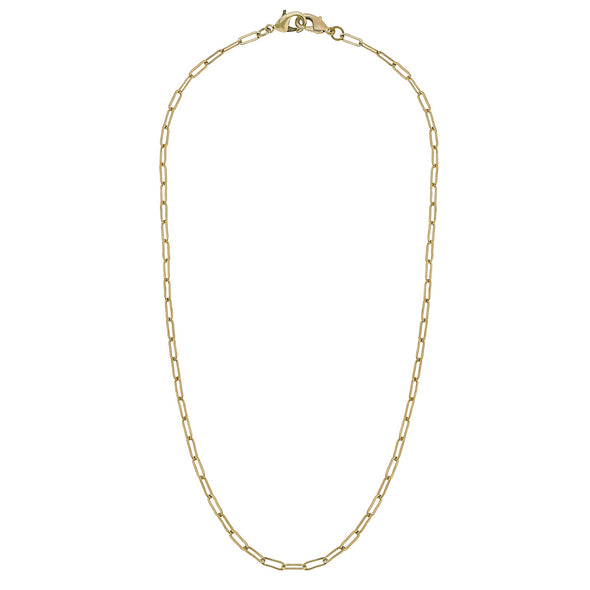 "Worn Gold, 20"" Small Paperclip Link Mask Chain"