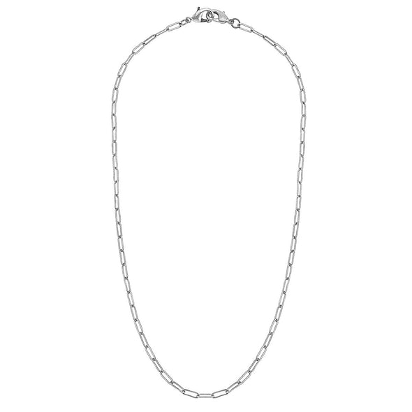"Worn Silver, 20"" Small Paperclip Link Mask Chain"
