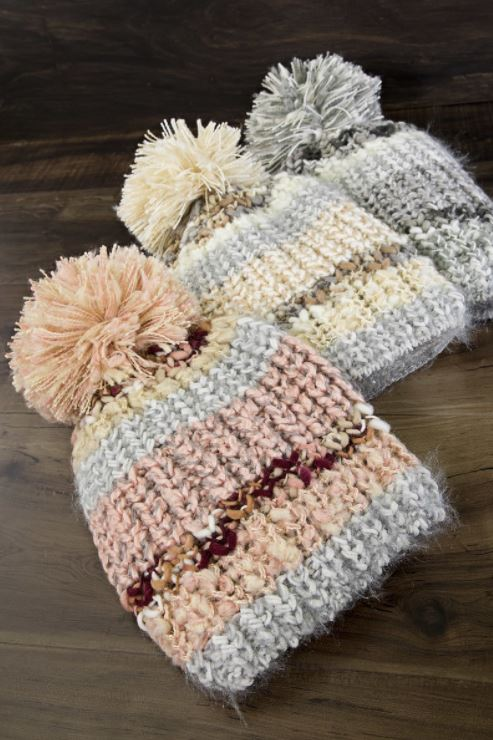 Striped Pom Knit Beanies