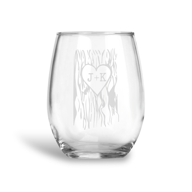 Sweetheart Initials, Stemless Wine Glass