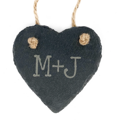 Slate Heart Ornament with Custom Initials
