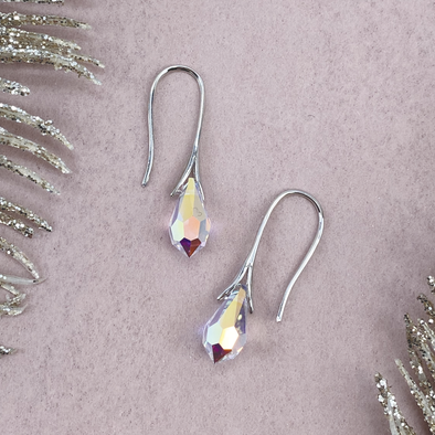 Crystal AB, Teardrop Earrings in Rhodium