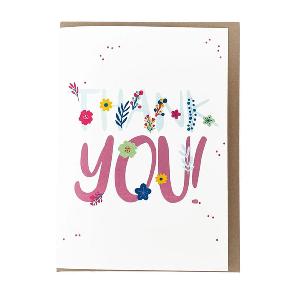 """Thank you!"" with Flowers, Thank You Card"