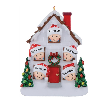 Family of 5 Personalized House Ornament