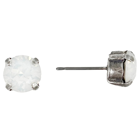 White Opal, 8mm Crystal Stud Earrings