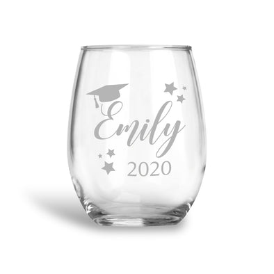 Graduate Custom Name, Stemless Wine Glass