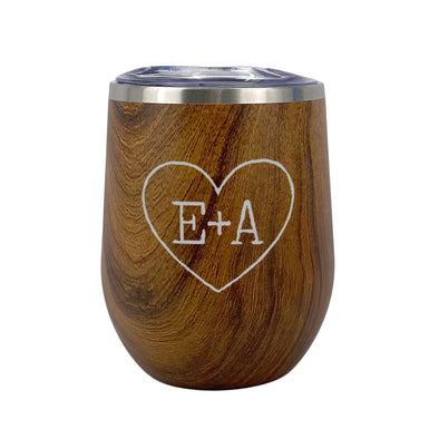 Woodgrain Wine Tumbler with Custom Sweetheart Initials