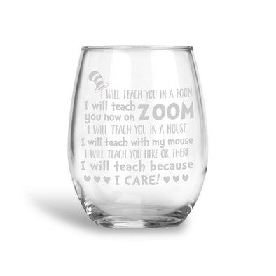 I Care, Teacher Stemless Wine Glass, Wholesale