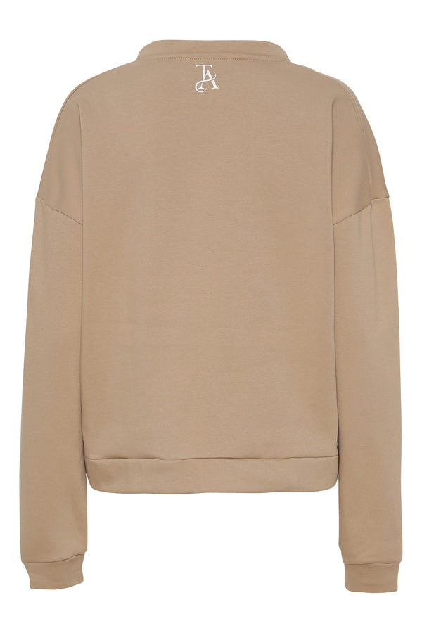 BABE V Neck Sweat - Beige