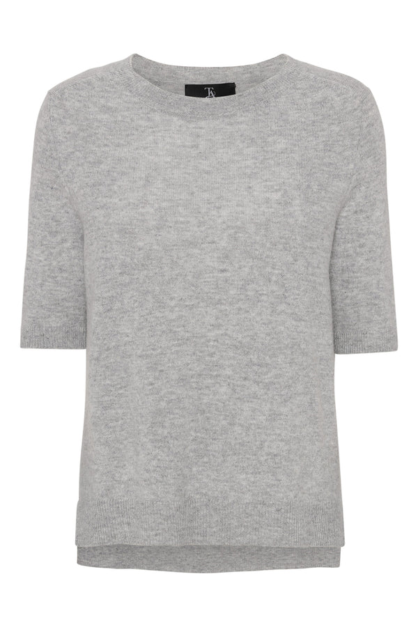 LOUISA Short Sleeve - Light grey melange