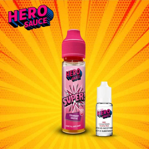 Hero Sauce SUPER Strawberry Smoothie with Free Nicotine Shot