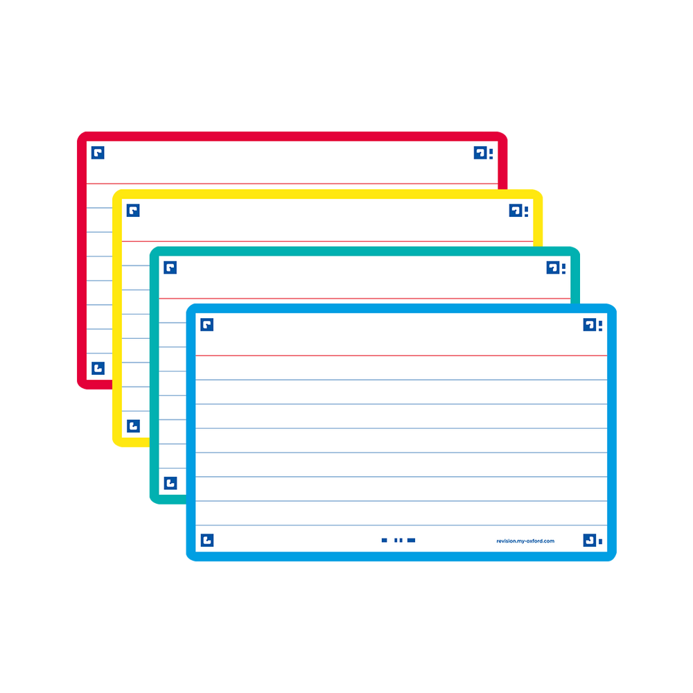 Flash Cards, ruled with assorted colours, pocket-size, pack of 80
