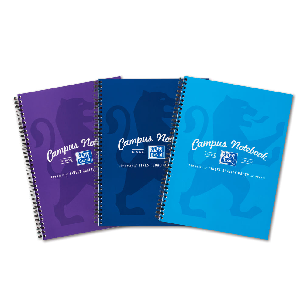 Oxford Campus A4 Notebooks, Assorted Colours, Pack of 3