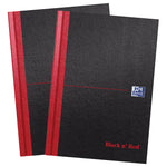 Oxford Black n' Red A5 Hardback Casebound Notebook, Pack 2