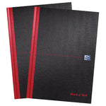 Oxford Black n' Red A4 Hardback Casebound Notebook, Pack 2