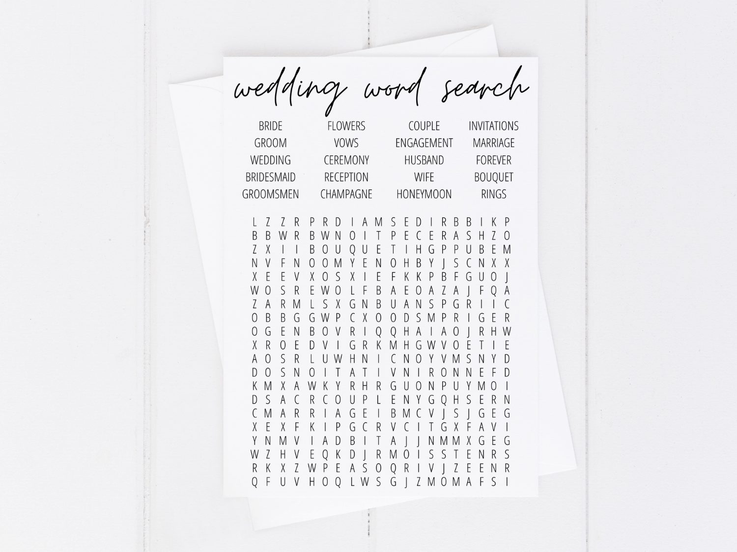 Bridal Shower Word Search