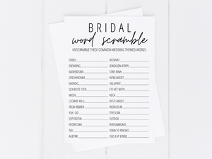Bridal Shower Word Scramble