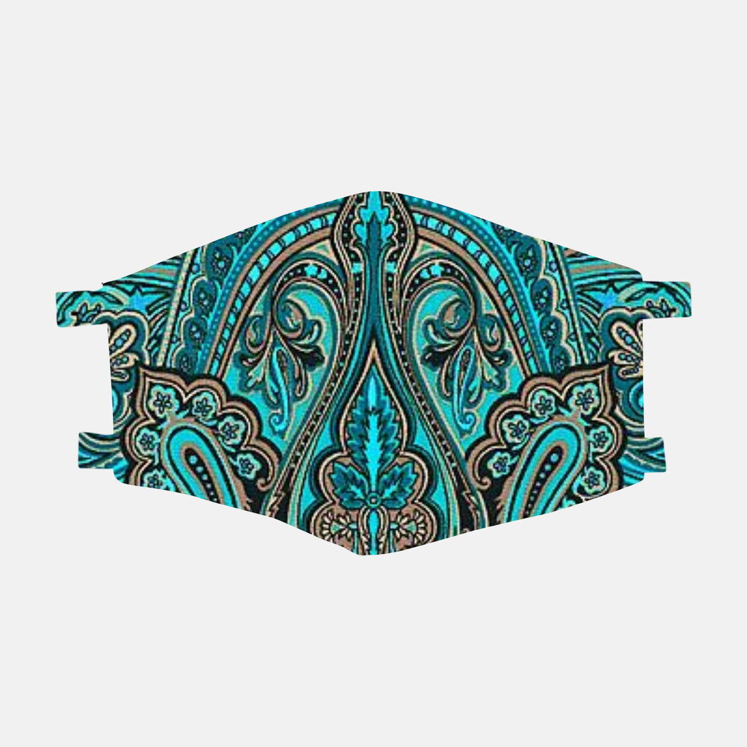 Green and Turquoise Paisley Face Mask