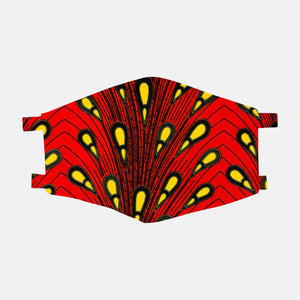 Peacock Red Ankara Face Mask