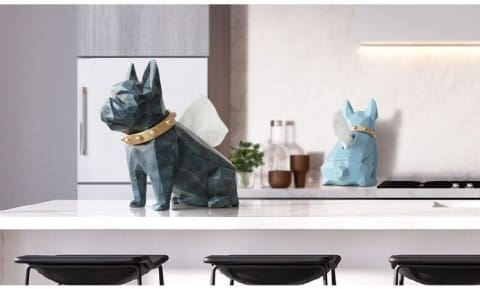 Paw Tissue Holder : tabletop home decor, modern creative dog figurine