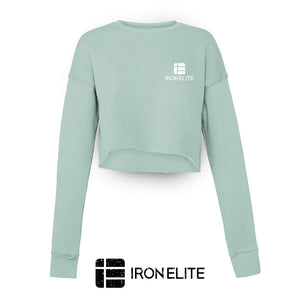 IE Symbol | Female Cropped Sweater | Dusty Blue/White Print