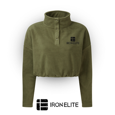 IE Symbol | Cropped Fleece Sweater | Khaki / Black Embroidery