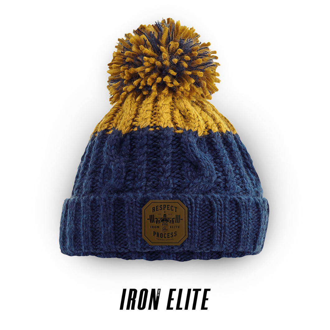 Respect The Process | Adults Blizzard Beanie | Navy / Mustard