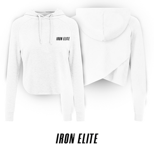 Signature 2.0 | Female CrossBack Cropped Hoodie | White / Black Print