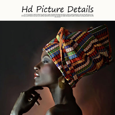 African Nude Woman Indian Headband Portrait Canvas - Minimalist Nordic