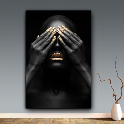 Hand and Gold Lip Woman Oil Painting Printing Black Wall Art - Minimalist Nordic